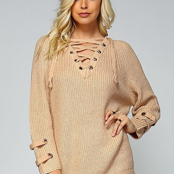 Oversized Lace Up Sweater - Beige