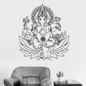 Vinyl Wall Decal Ganesha Hindu Elephant God Lotus Hinduism Stickers Unique Gift (ig3409)