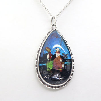 Sterling Silver MORPHO Blue BUTTERFLY WING Pendant with painted Dutch Girl Boy Scene on 18inch chain Art Deco 1930s