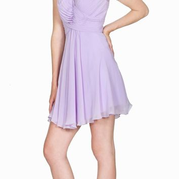 V-Neck Short Homecoming Dress Pleated Bodice Sheer Strap Lilac