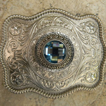 Blue Silver Concho Belt Buckle, Western Womens Southwestern Country Engraved Buckle, Silver Concho Western Custom Belt Buckle