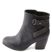 Belted Chunky Heel Ankle Boots by Charlotte Russe - Black
