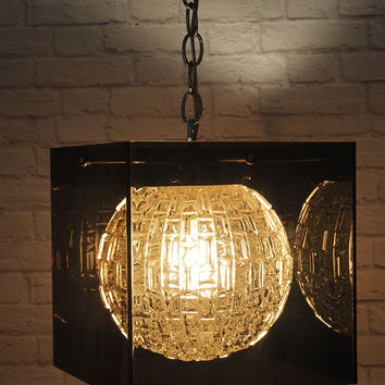 Vintage Smoked Lucite Cube Swag Light // Mid Century Modern Lighting