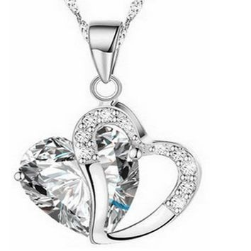 Heart Shape Silver Tone Pendant Necklace