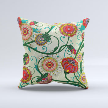 Vintage Green Floral Vector Pattern Ink-Fuzed Decorative Throw Pillow