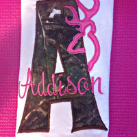 Hot Pink Camo Monogram Baby Girl Browning Logo Bodysuit, Camo Shirt, Hot Pink Camo Browning Shirt