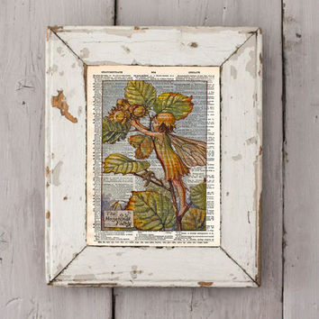 Vintage Flower Fairy art - Hazel Nut Fairy - Fairy art print,  Dictionary print art