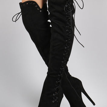 Suede Corset Lace Up Metal Eyelet Chunky Hidden Platform Stiletto Boots