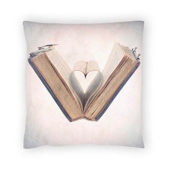 Valentine day, Heart, French country, Book lover gift, Pillow Cover, Pillow Case, Cover, Cotton Pillow Cover, Photography, 19x19(50x50cm)