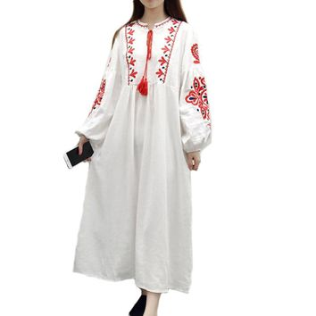 Plus Size Loose Bohemia Embroidery Dresses 2018 New Ethnic Vintage Women Lantern Sleeve Floral Embroidered A Line Cotton Dress