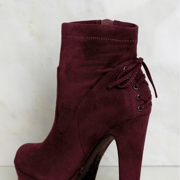 Lace Back Platform Booties Vino