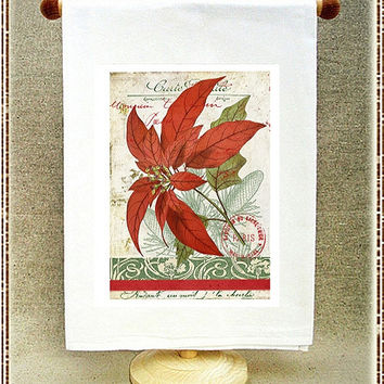 Poinsettia Postale Flour Sack Towel by Full Circle Studio of Portland