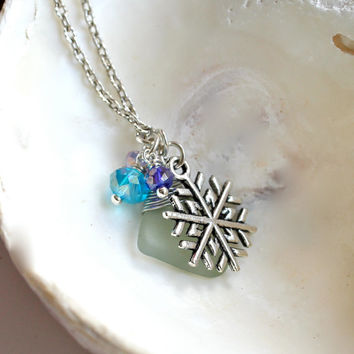 Sea Glass Jewelry from Hawaii Snowflake Necklace with Hawaiian seaglass by Mermaid Tears