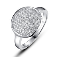 Sterling Silver Round Shape W. Micro Pave Cubic Zirconia Ring