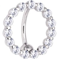 Solid 14KT White Gold REVERSE Zirconia CIRCLE Belly Ring (21247) | PiercingUSA.com