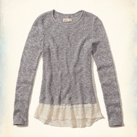Girls Lace Hem Pullover Sweater | Girls 50% Off Select Styles | HollisterCo.com
