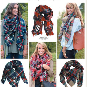 Tartan Plaid Blanket Scarf Mongrammed, Personalized Blanket Scarf with initials, Tartan plaid scarf