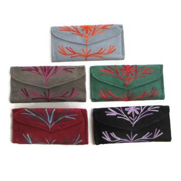 Women Wallet Leather Purse Envelope Handmade Card Holder Kashmir Embroidered New
