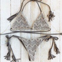 Gray Printed Bikini Tassels Lace Split Swimsuit Bathingsuit