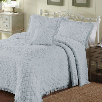 Twin Size Pear Blue 100% Cotton Chenille Bedspread with Fringe Edges