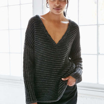Silence + Noise Marled Stripe Deep-V Sweater - Urban Outfitters