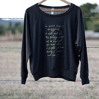 Slouchy Sweatshirt- gold on charcoal- size S, M, L