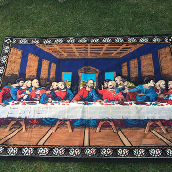 Vintage Tapestry The Last Supper JESUS Woven Large Cotton Tapestry Wall hanging Rug
