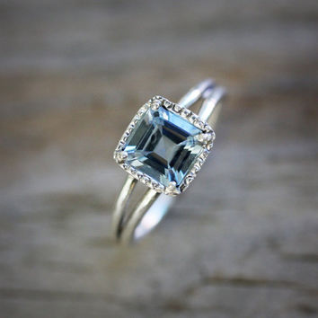 Limited Edition Sterling and Asscher Cut Aquamarine Ring, Halo Milgrain Ring in Prong Setting Engagement Ring