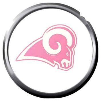 NFL Superbowl LA Rams Pink Football Fan Logo 18MM-20MM Snap Jewelry Charm New Item