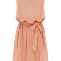 ROMWE Beaded Self-tied Belt Pleated Chiffon Pink Dress