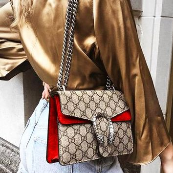 GUCCI Fashion hot lady drunkard shoulder bag Red