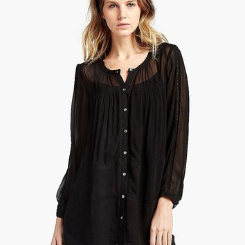 Lucky Brand Lace Inset Tiered Blouse Womens - Lucky Black
