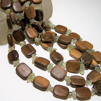 Boho Wood Oval Bead Necklace, Multi Strand, Moss Agate Spacer Beads, Festival Jewelry 218
