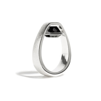 Vigor - 3 Ct Cushion Black Onyx Brushed Silver Ring