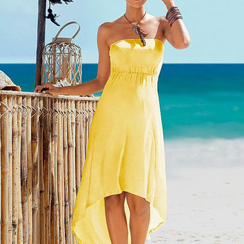 Yellow Strapless Elastic Waist Irregular Dress