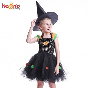 Black Girls Baby Little Witch Halloween Costume Colorful Polka Dot Girl Pumpkin Tutu Dresses Kids Party Dress