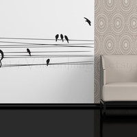 Birds on a wire with music note wall decal, wall sticker, wall graphic , living room decal, bedroom decal, vinyl decal, wall art