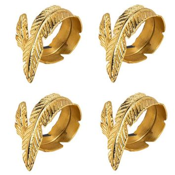 Gold Feather Napkin Rings Set of Four