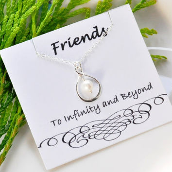 Infinity Sterling Silver Necklace, Eternity necklace,Friendship Necklace,Sister necklace infinity, Bridesmaid Personalized note card Jewelry