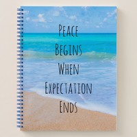 Inspirational Quote with Tropical Beach Scene Notebook