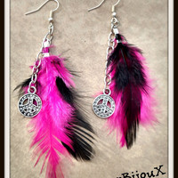 Boho Pink and Black feathered earrings with dangling chain linked diamond style peace signs. Hung from silver plated fish hooks Accessories