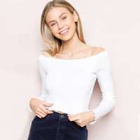 Women Off the Shoulder Ribbed Crop Tops with ruffled trimmings Slash Neck Long Sleeve Crop T-shirts