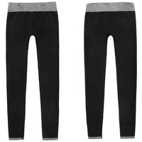 Sweat Contrast Trim Ankle Length Skinny Athletic Leggings