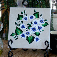 Hand Painted Ceramic Trivet Spoon Rest With Blue and White Flowers