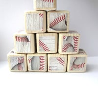 Baseball Baby Blocks. Wood blocks for children. Sports theme nursery decor. Baby shower decoration. For Boys. New baby gift. UNIQUE