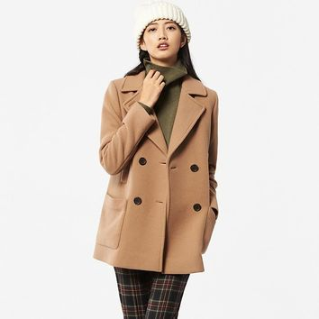 WOMEN WOOL BLENDED PEA COAT | UNIQLO