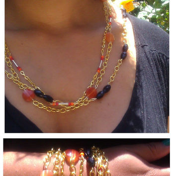 Bohemian Layered Gold Chain, Red, Peach, and Black Bracelet / Necklace