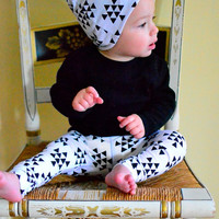 Slouchy Beanie Hat Baby Toddler Reversible Girl Boy Mini Black White Triangles Infant Newborn