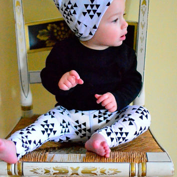 d32caba062d Slouchy Beanie Hat Baby Toddler Reversible Girl Boy Mini Black White  Triangles Infant Newborn