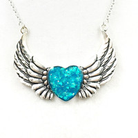 Blue holographic heart and wing necklace / heart jewelry / angel wing necklace / holographic jewelry / blue pendant / silver necklace